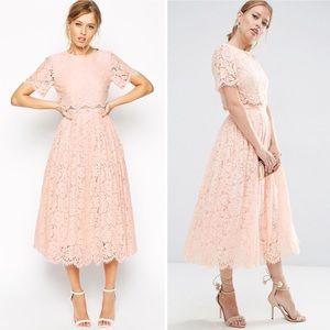 ASOS | Lace Crop Top Midi Prom Dress
